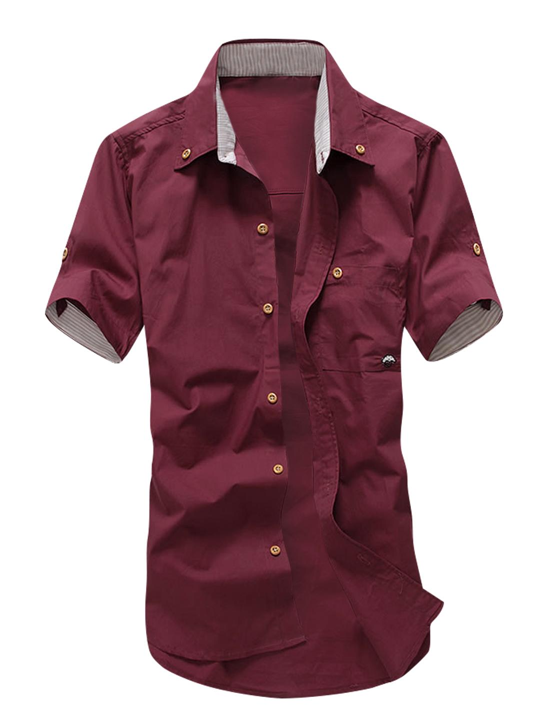 Man Striped Panel Short Sleeves Button Down Shirts Burgundy M