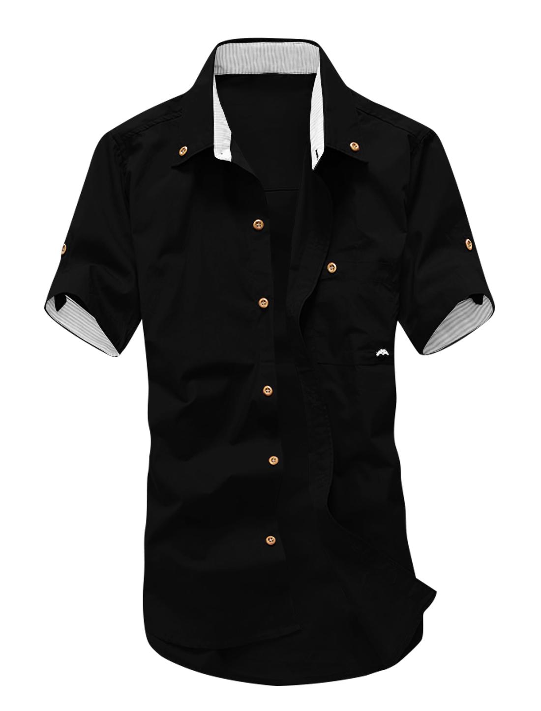 Man Short Sleeves Stitching Detail Button Down Shirts Brick Red M