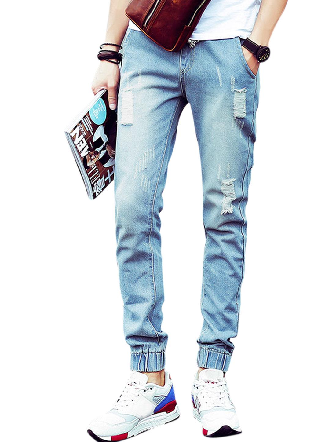 Men Elastic Waist Destroyed Design Welt Pockets Jeans Light Blue W30