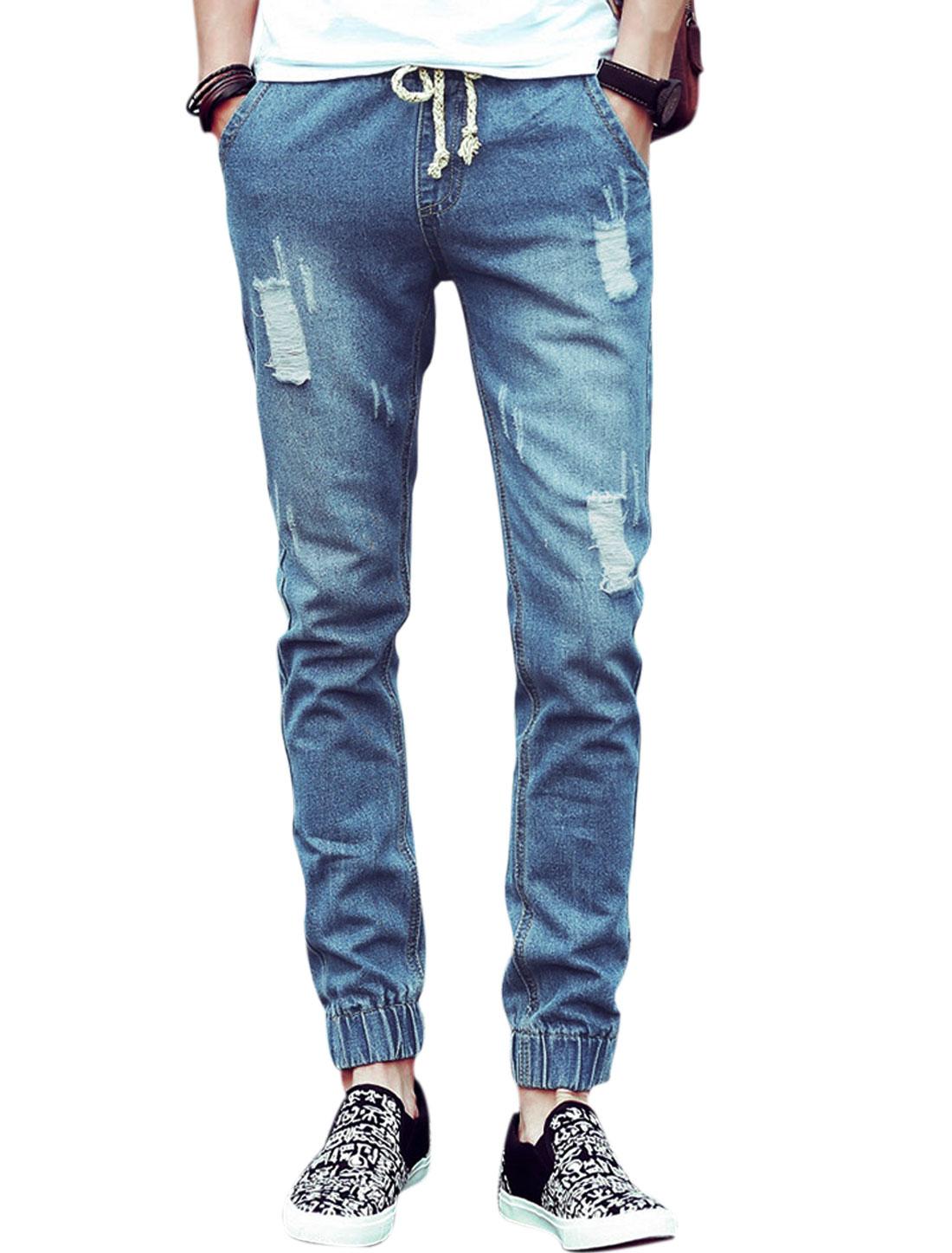 Men Drawstring Waist Hip Pockets Casual Jeans Dark Blue W30