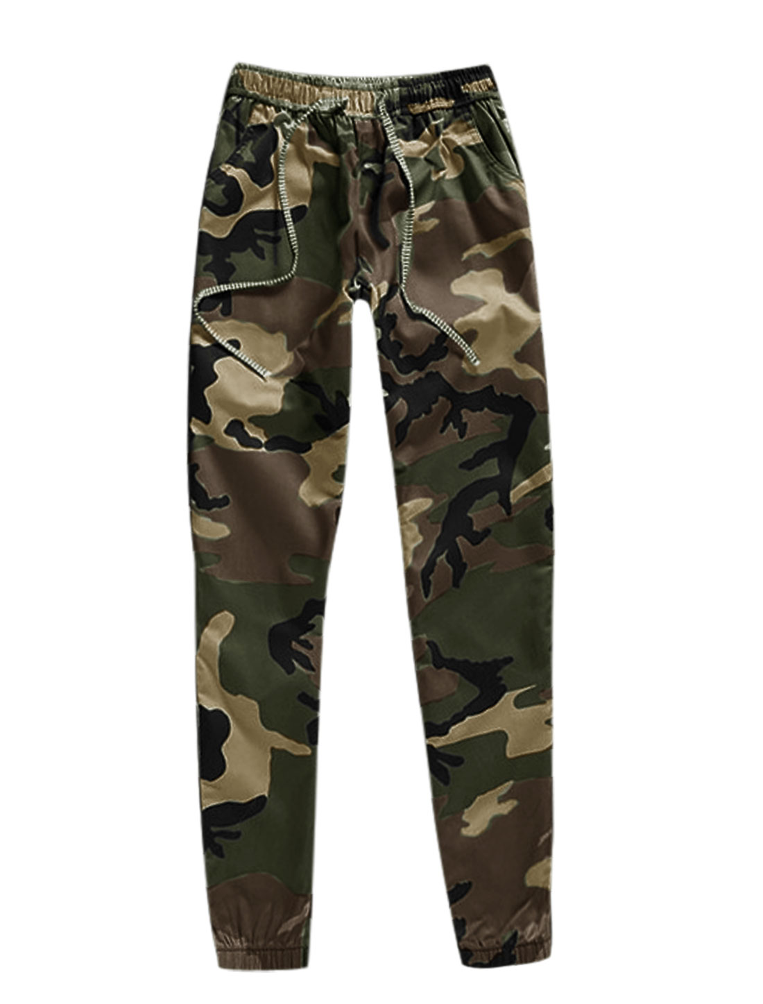 Men Camouflage Pattern Drawstring Elastic Waist Casual Pants Army Green W30
