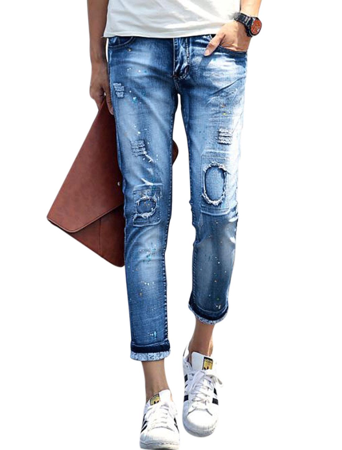 Men Skull Prints Detail Destroyed Design Skinny Jeans Blues W30
