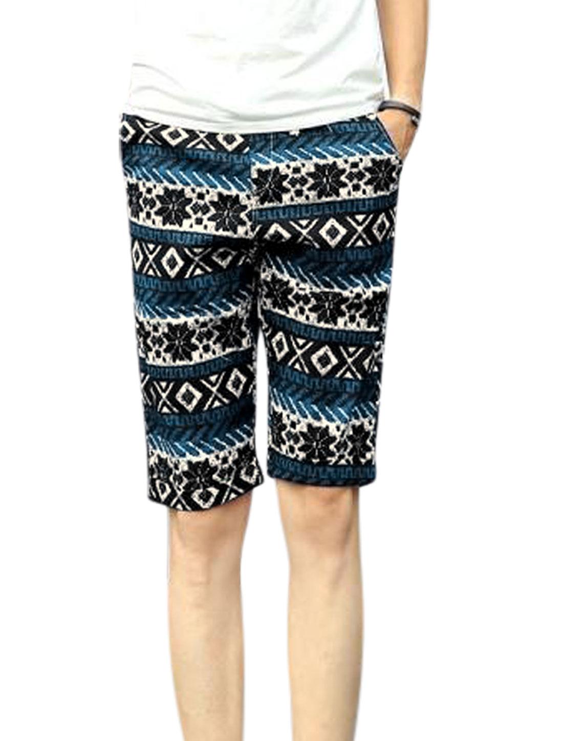 Men Geometric Prints Drawstring Waist Mid Rise Casual Shorts Black Blue W30