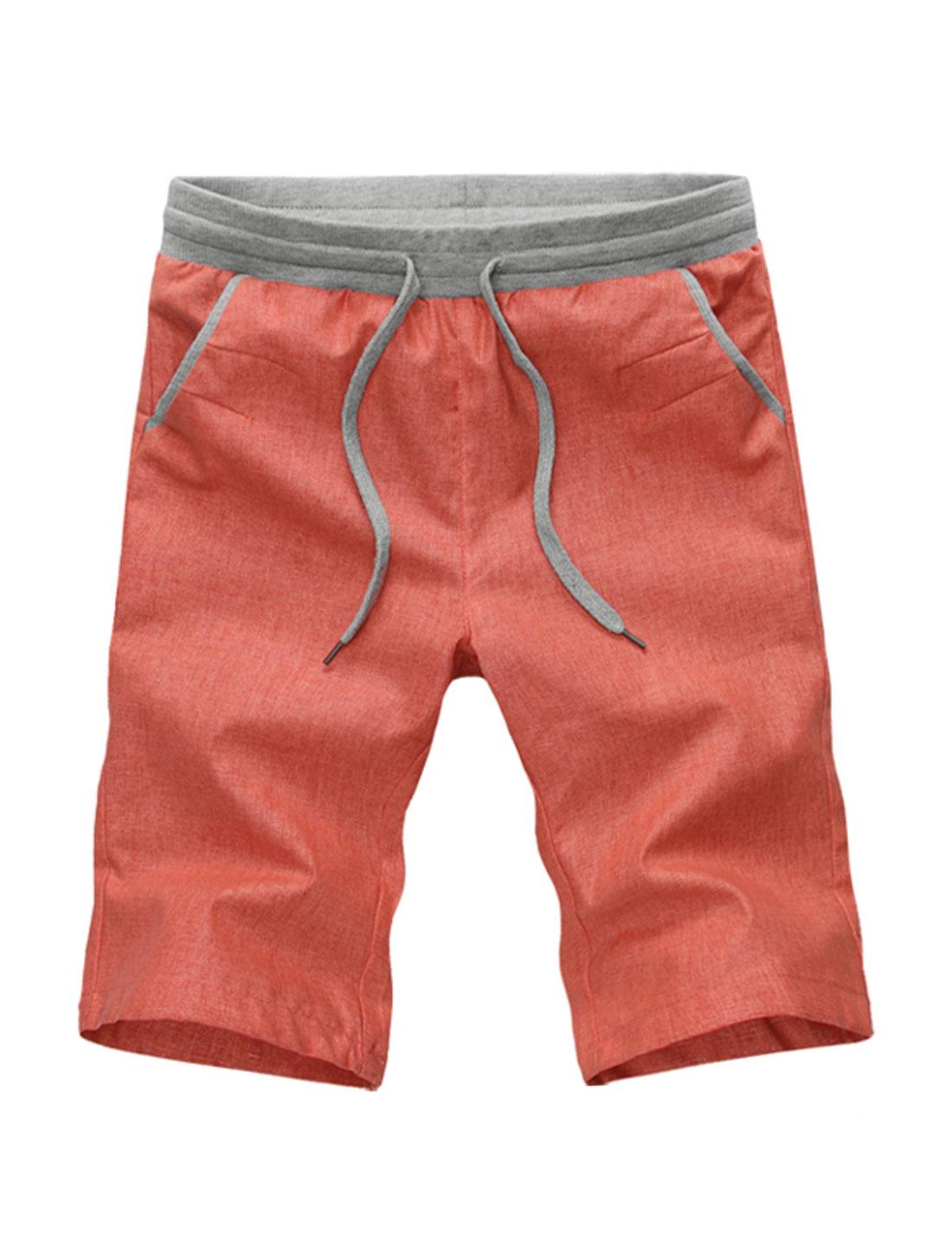 Men Mid Rise Straight Leg Panel Detail Linen Casual Shorts Orange Red W30