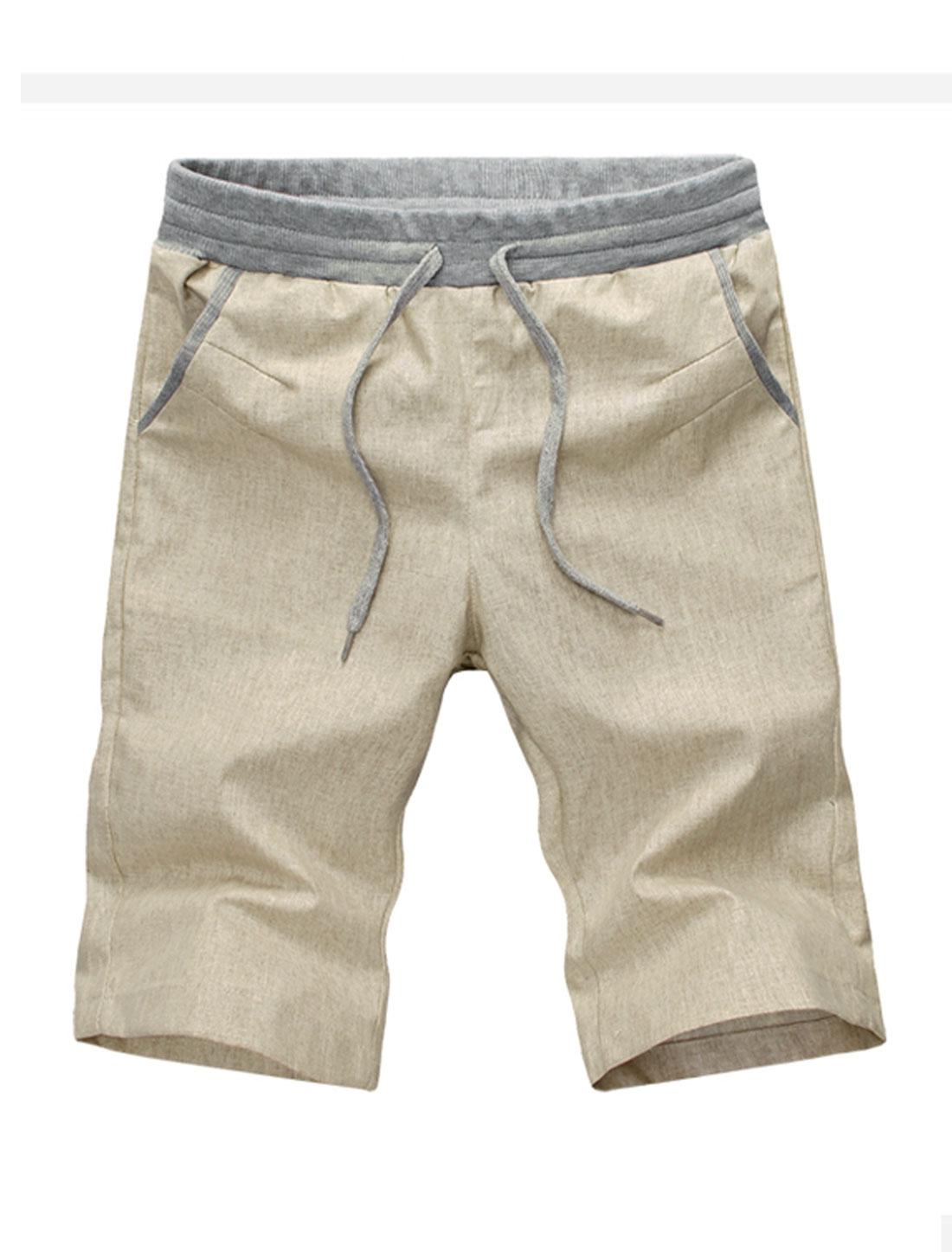 Men Drawstring Waist Straight Leg Panel Detail Linen Casual Shorts Beige W30