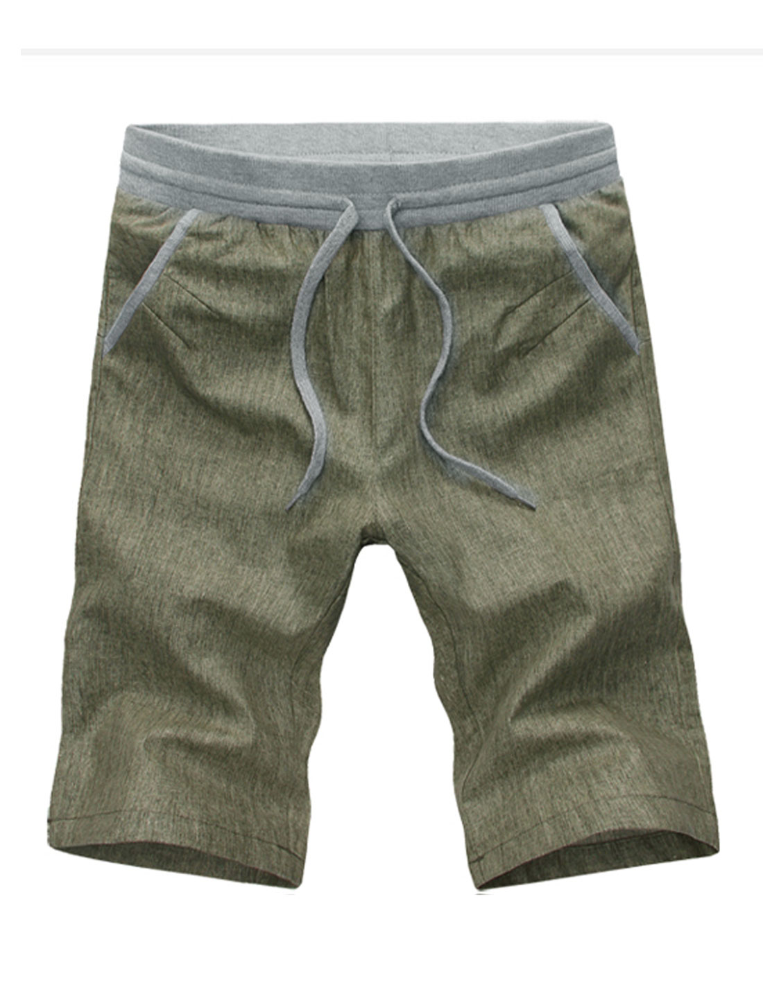 Men Ribbed Stretchy Waist Pockets Sides Panel Detail Linen Casual Shorts Army Green W30