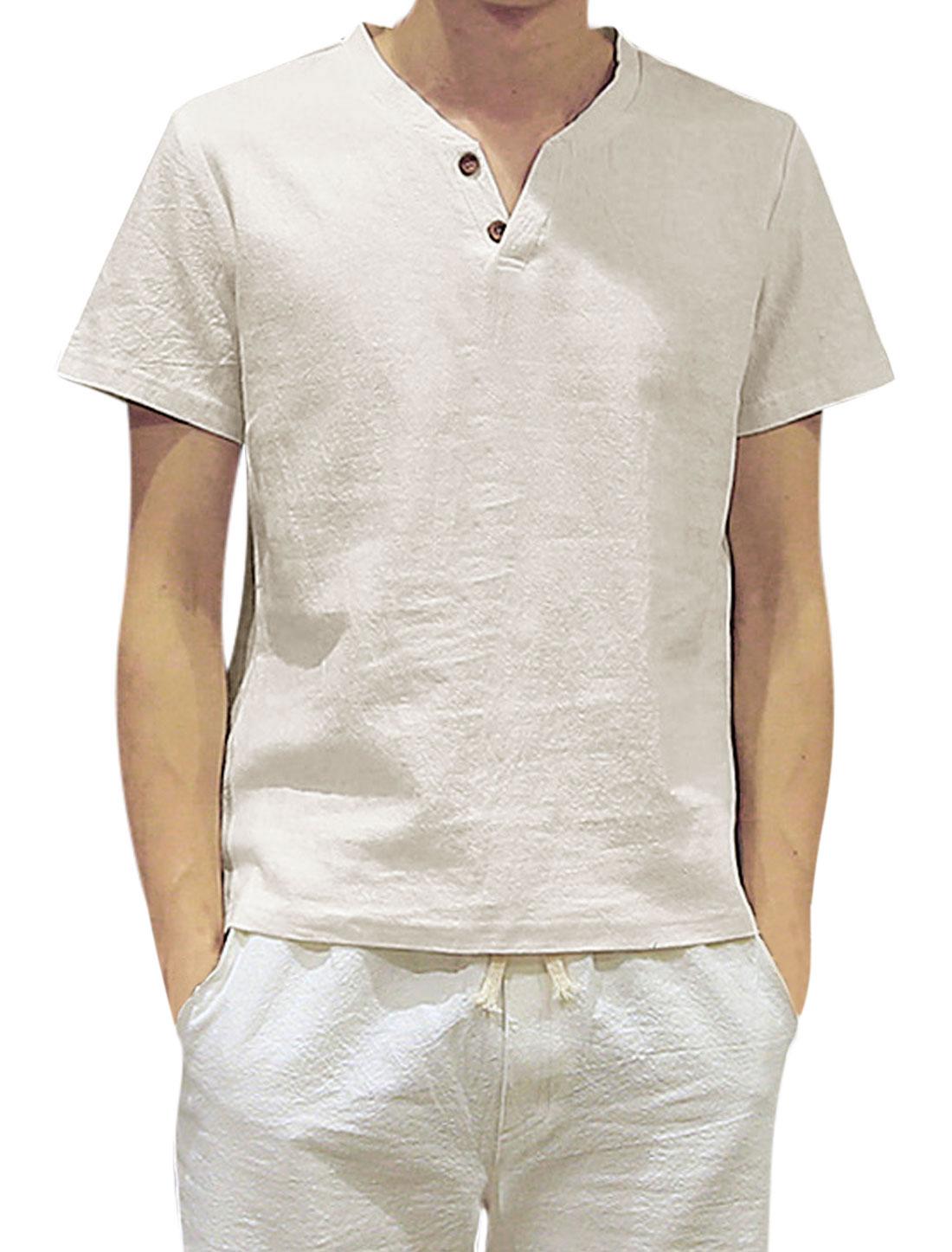 Men Split Neck Buttons Upper Short Sleeves Casual Linen Tee White M