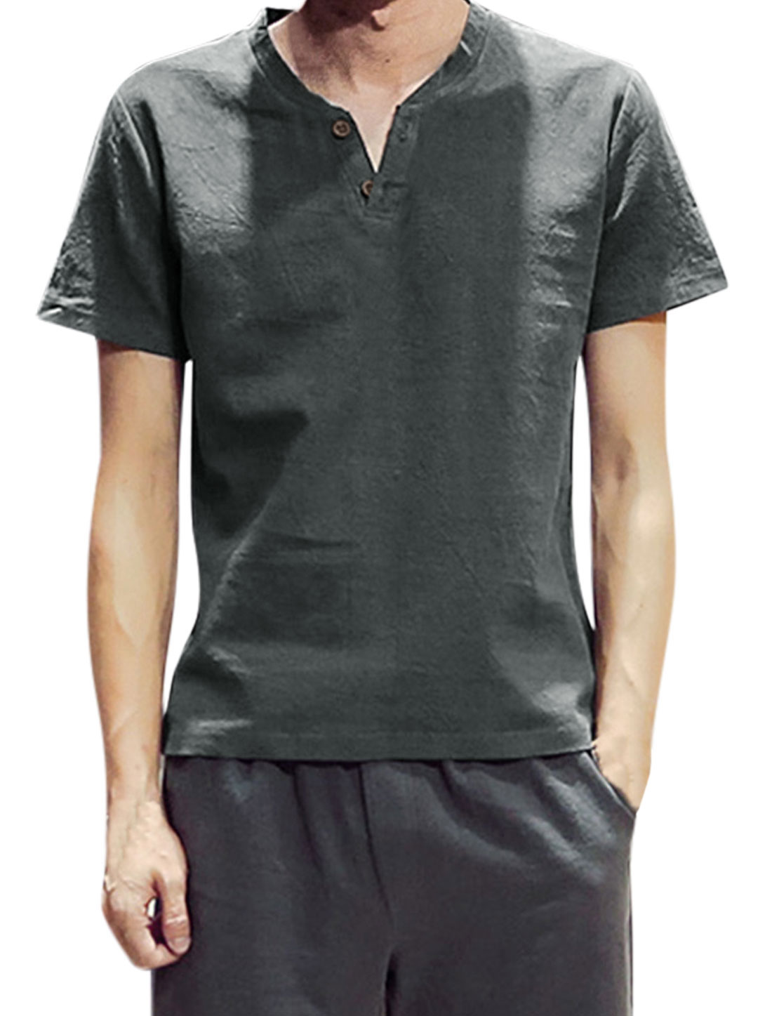 Men Split Neck Two Button Closed Upper Short Sleeves Linen Tee Dark Gray M