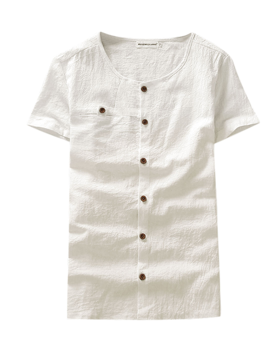 Men Round Neck Short Sleeves Single Breasted Textured Linen Tee White M