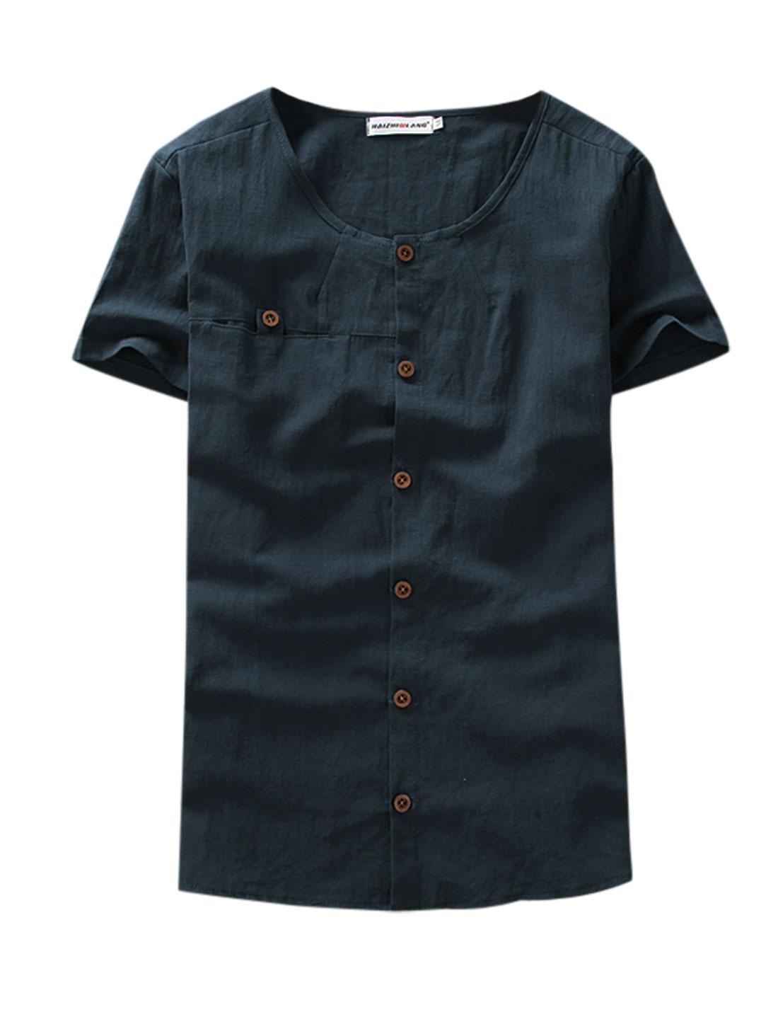Men Short Sleeves Single Breasted Chest Pocket Linen Tee Navy Blue M