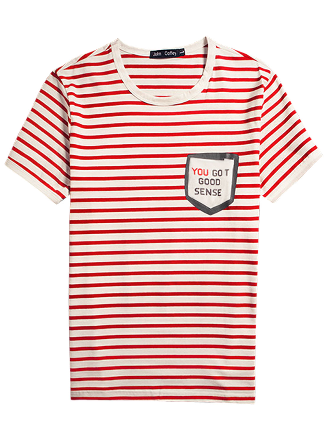 Men Stripes Patch Chest Pocket Letters Prints Detail Tee Reds Whites S