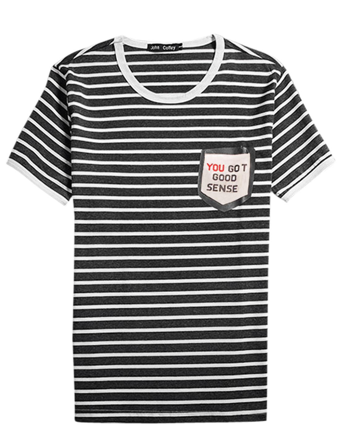 Men Stripes One Chest Pocket Short Sleeves T-shirt Dark Gray White S