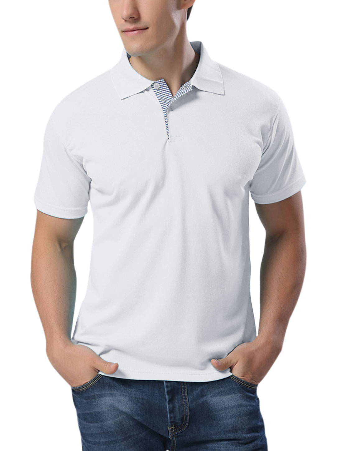 Men Short Sleeves Buttons Upper Casual Polo Shirts White L
