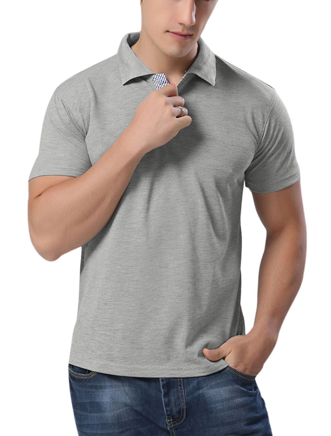 Men Short Sleeves Button Closure Casual Polo Shirts Light Gray M