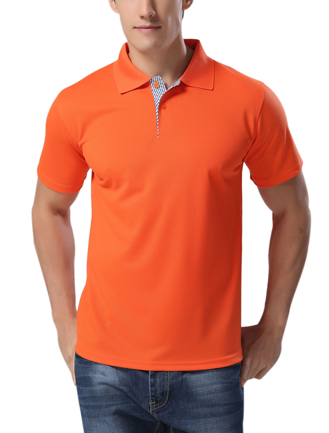 Men Point Collar Button Upper Casual Polo Shirts Orange M