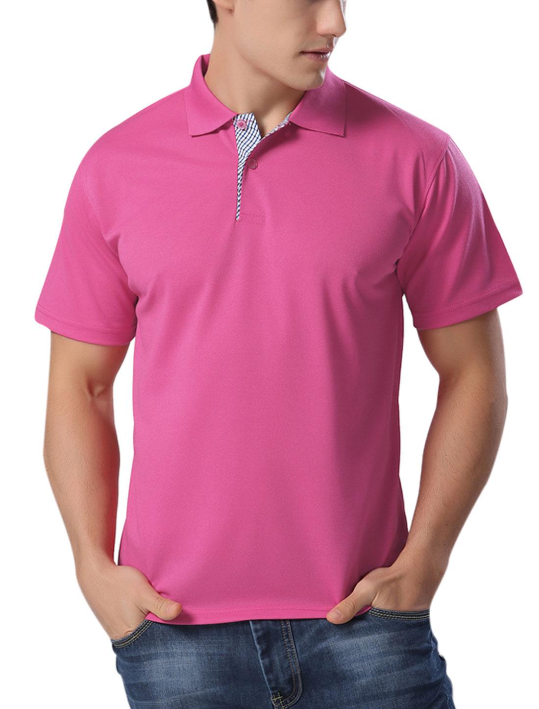Men Short Sleeves Casual Polo Shirts Fuchsia M