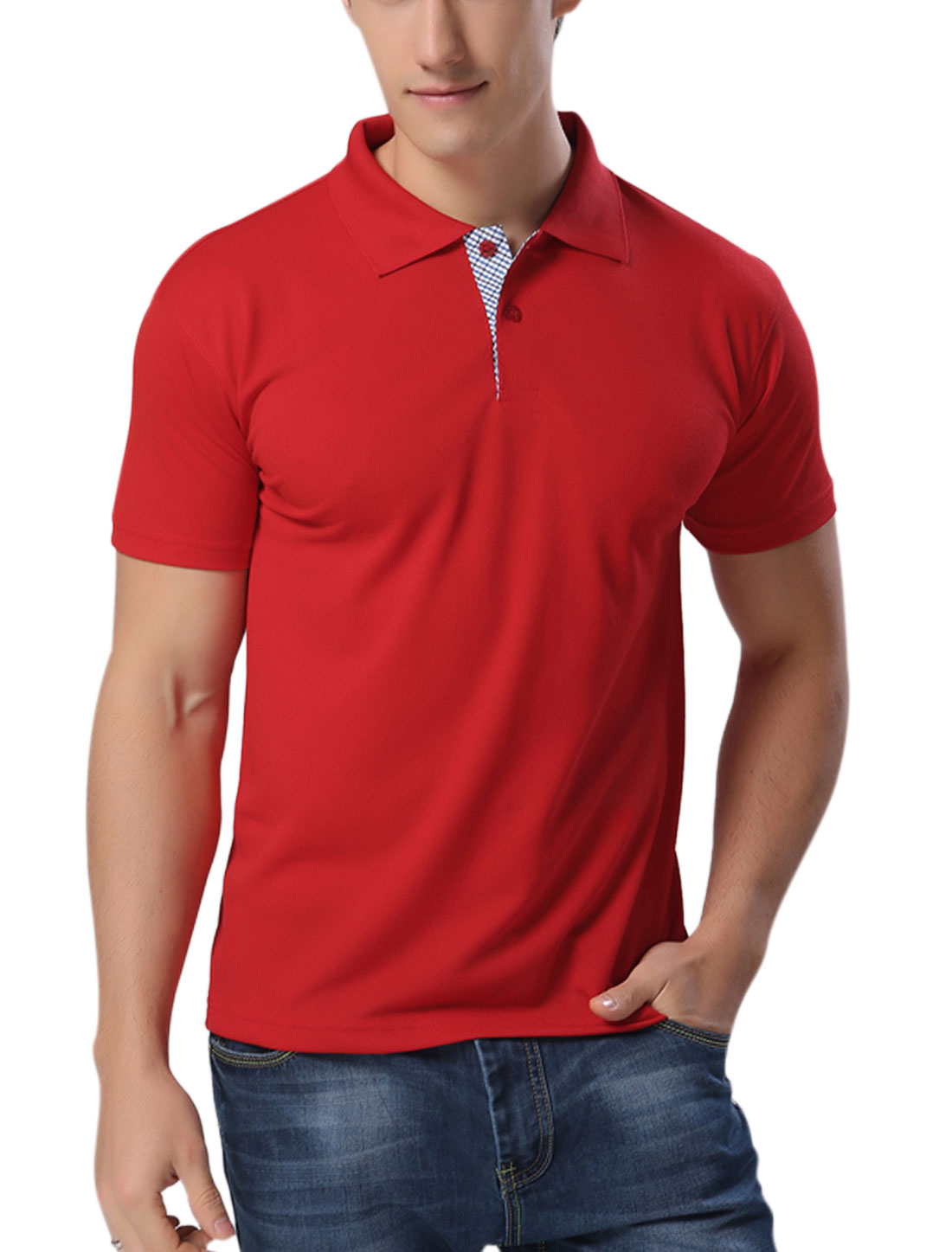 Men Point Collar Two Button Closure Casual Polo Shirts Red L