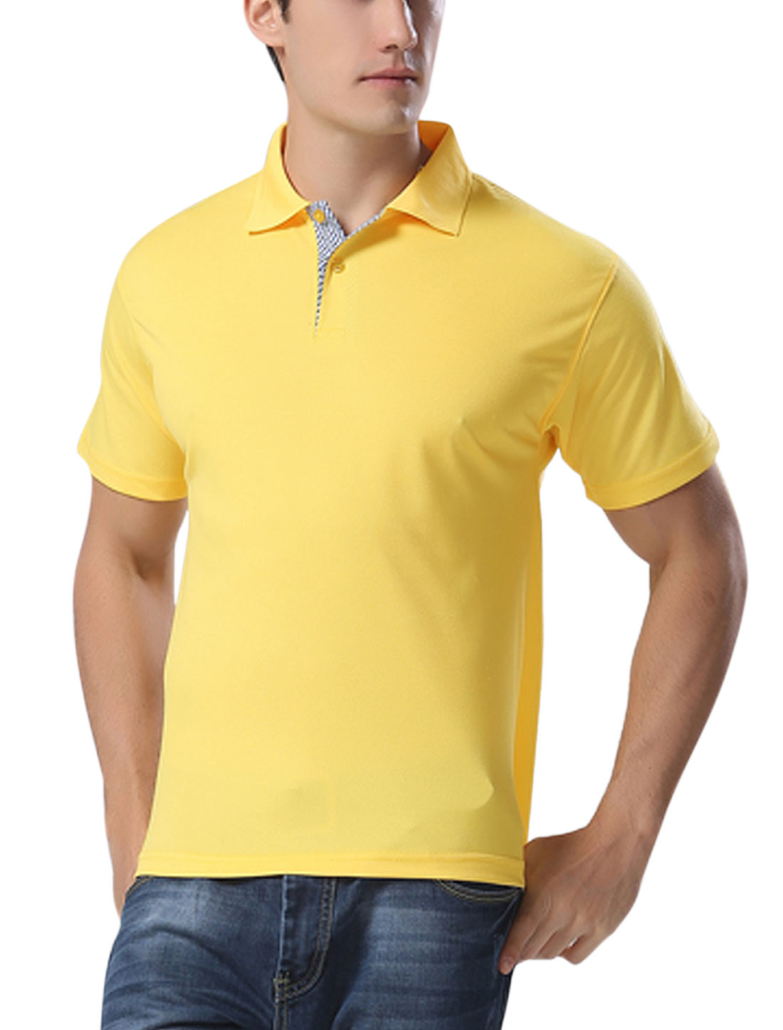 Men Short Sleeves Two Button Closed Polo T Shirts Yellow L