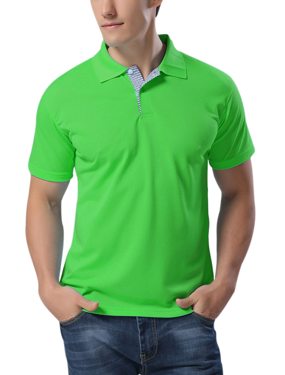Man Short Sleeves Buttons Upper Polo T Shirts Green M