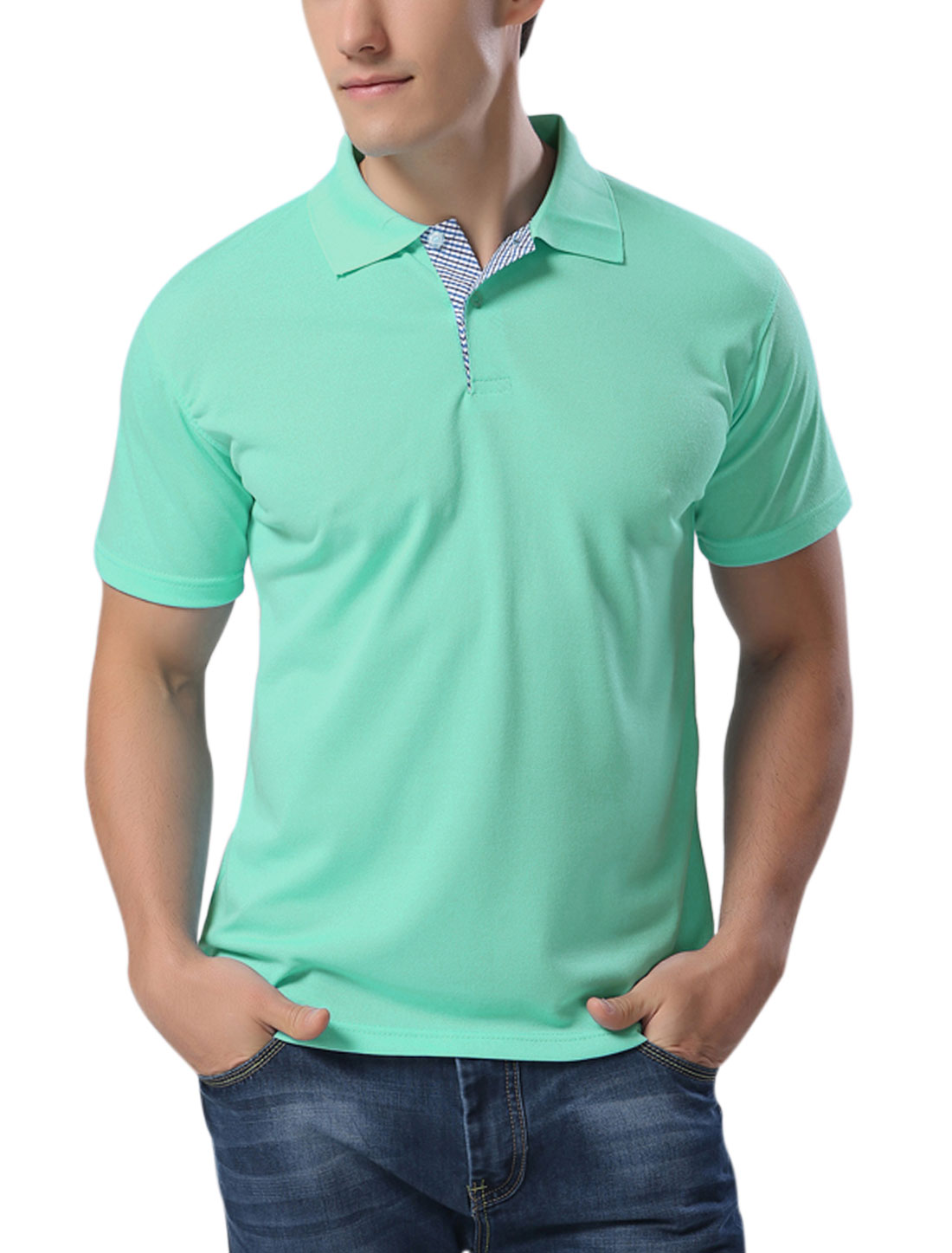 Man Point Collar Buttons Upper Performance Polo Shirts Mint L