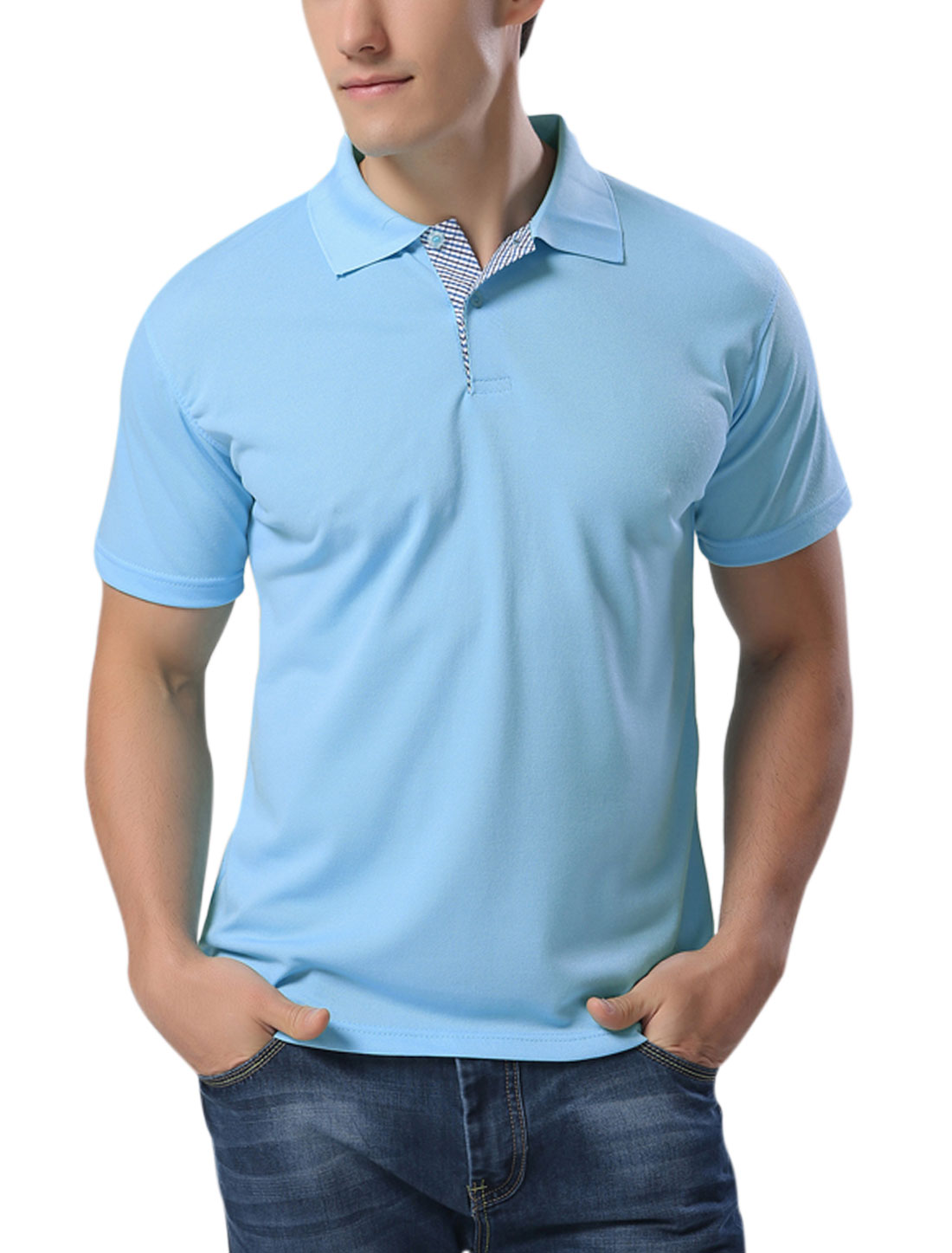Man Point Collar Button Closure Performance Polo Shirts Sky Blue M