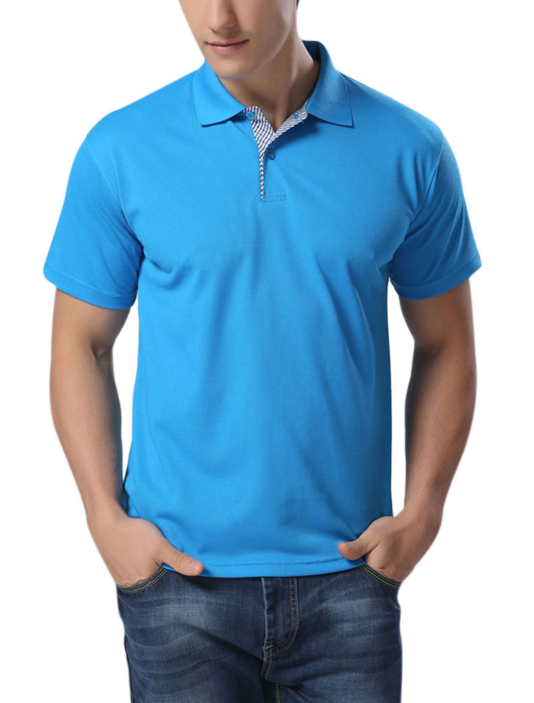 Man Point Collar Button Placket Sport Shirts Turquoise L