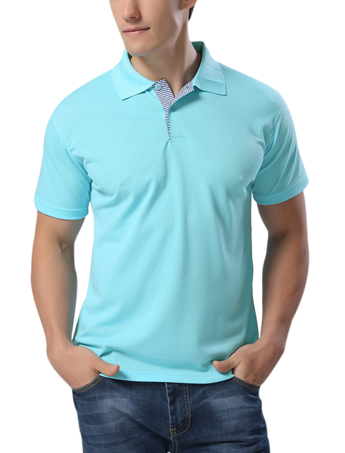 Men Point Collar Short Sleeves Uniform Polo Shirts Aqua M