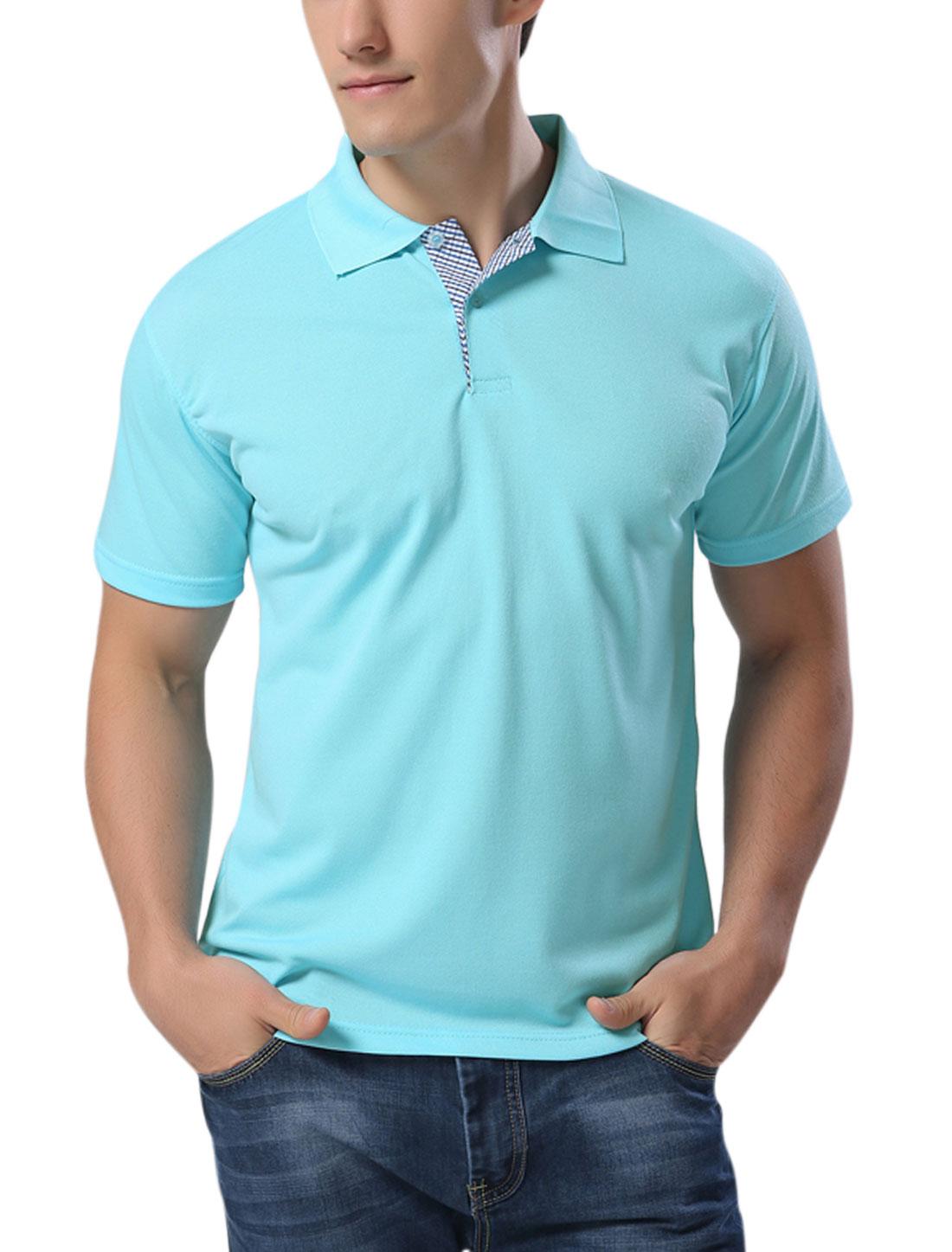 Man Point Collar Short Sleeves Leisure Polo Shirts Aqua L