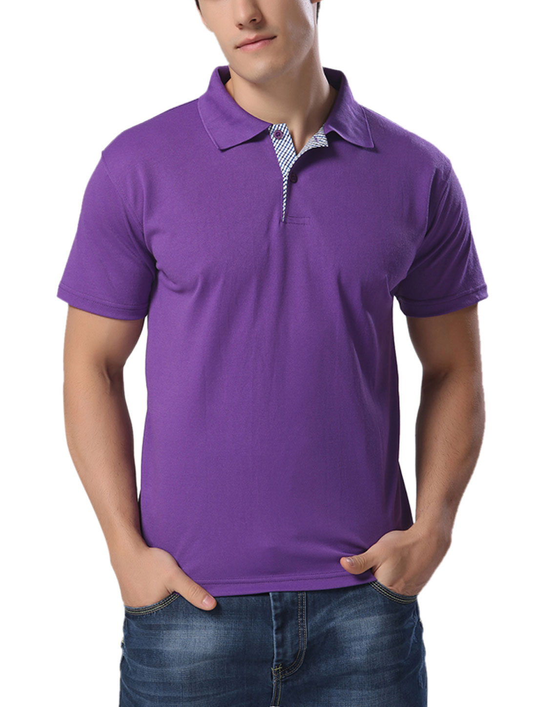 Men Point Collar Button Closed Performance Polo Shirts Purple M