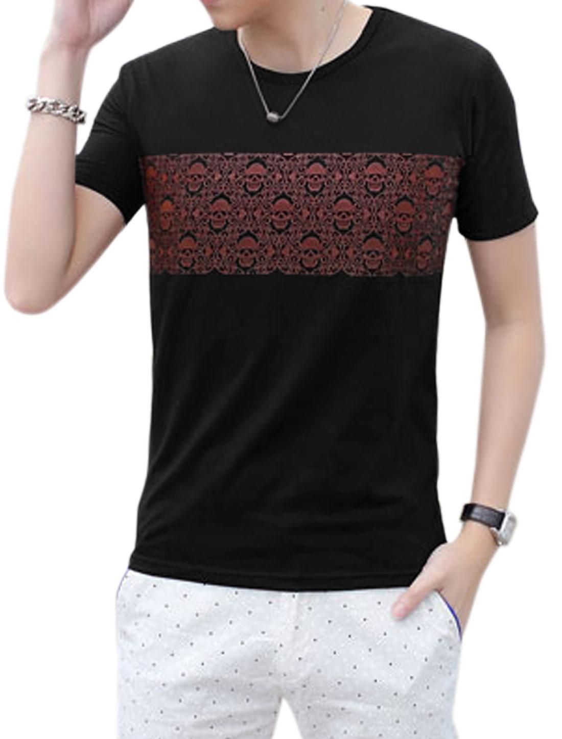 Men Skull Pattern Round Neck Slipover Casual Tee Shirts Black S