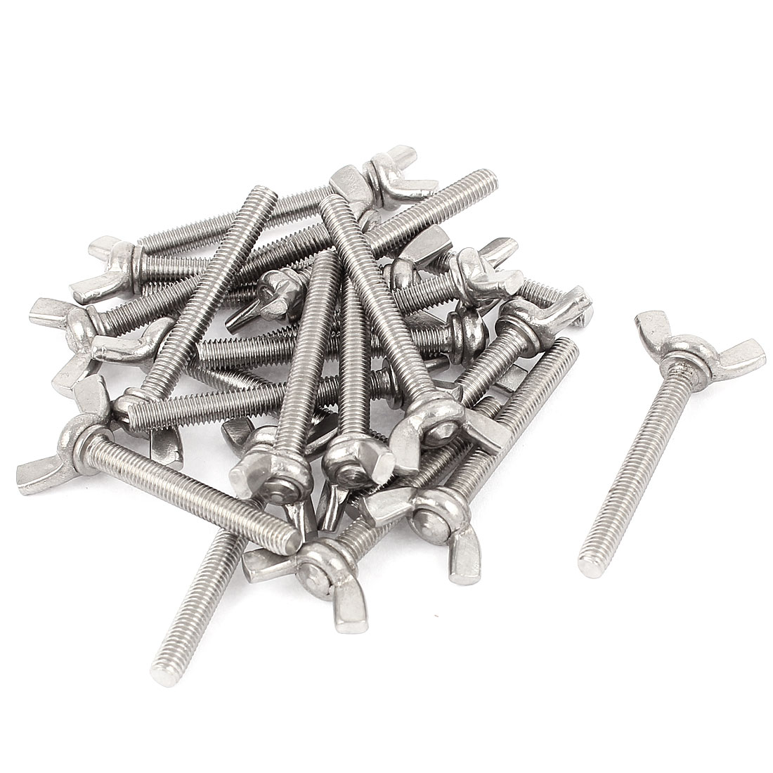 M5x40mm Thread Stainless Steel Wing Bolt Butterfly Screws Fastener 20Pcs