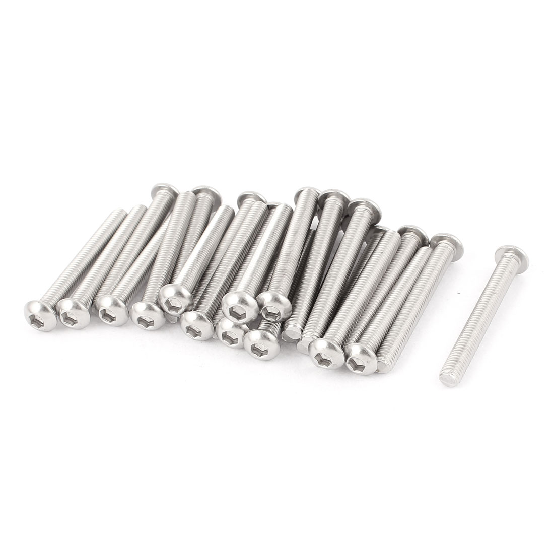 M6x50mm Stainless Steel Button Head Hex Socket Cap Screws Silver Tone 25Pcs