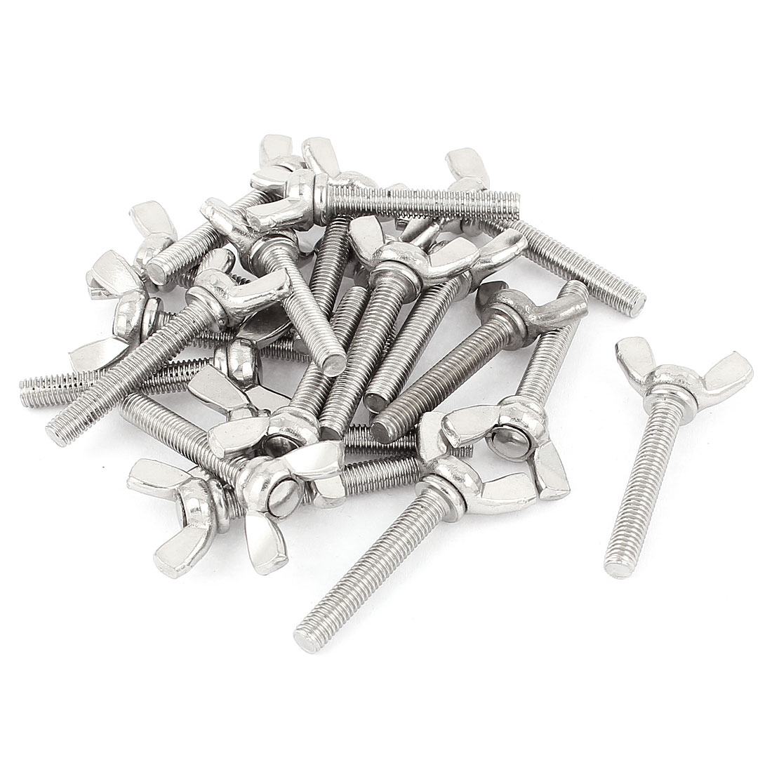 M5x30mm Thread Stainless Steel Wing Bolt Butterfly Screws Fastener 20Pcs