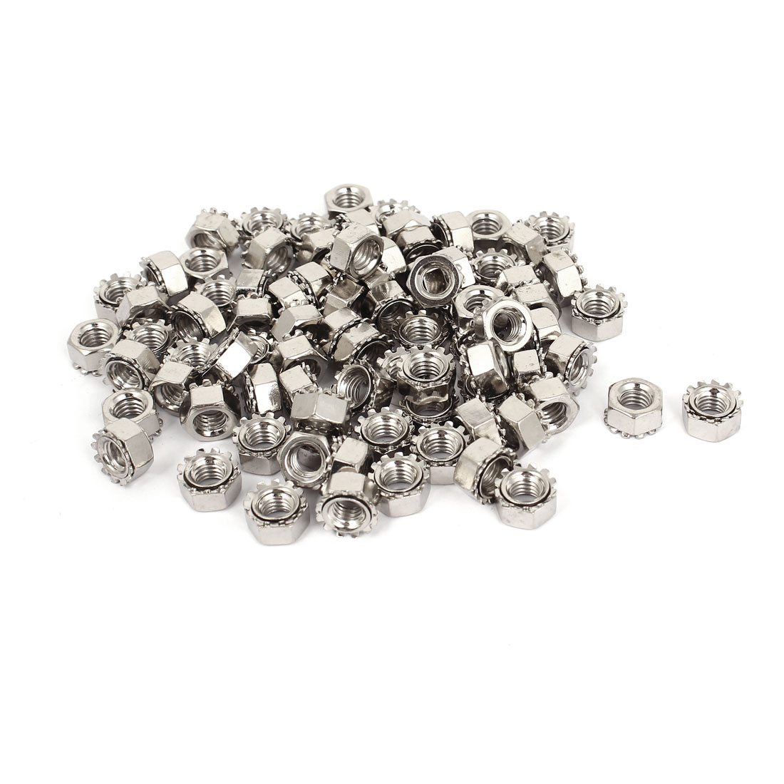 6mm Thread Dia Nickel Plated External Tooth K Lock Kep Nut Silver Tone 100Pcs