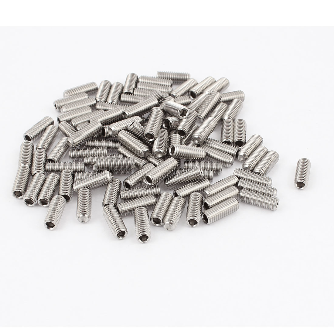 M6x16mm Stainless Steel Hex Socket Set Cap Point Grub Screws Silver Tone 100Pcs