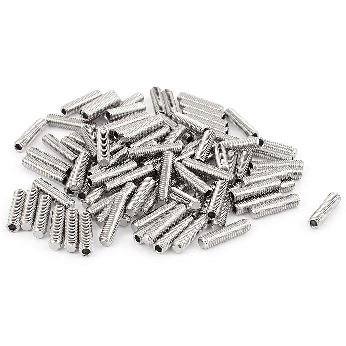 M5x20mm Stainless Steel Hex Socket Set Cap Point Grub Screws Silver Tone 100Pcs