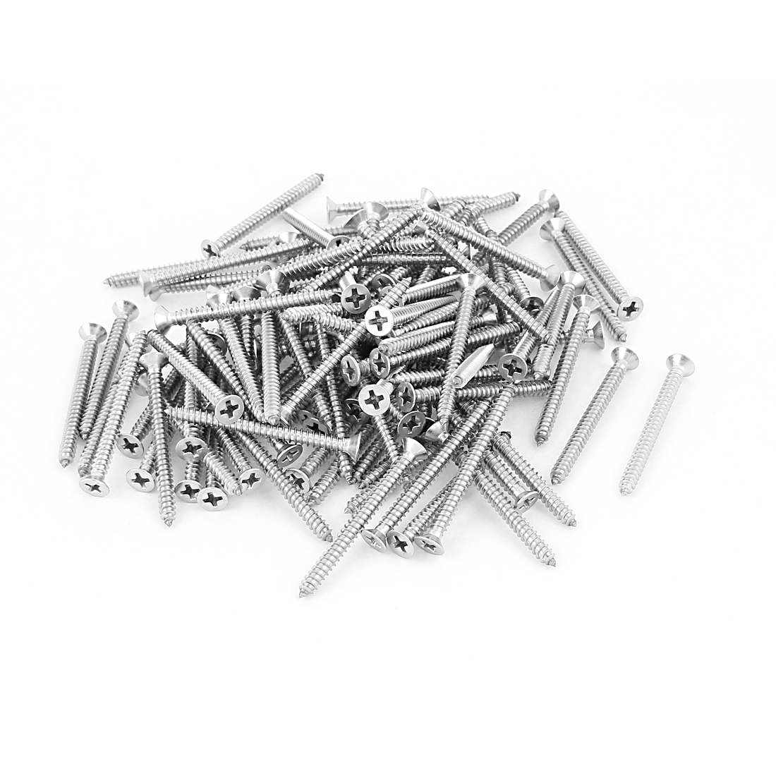 M4x45mm Phillips Flat Head Stainless Steel Self Tapping Screws Fastener 100Pcs