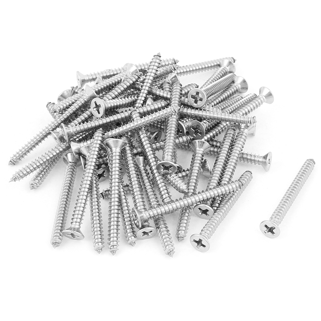 M4x40mm Phillips Flat Head Stainless Steel Self Tapping Screws Fastener 50Pcs
