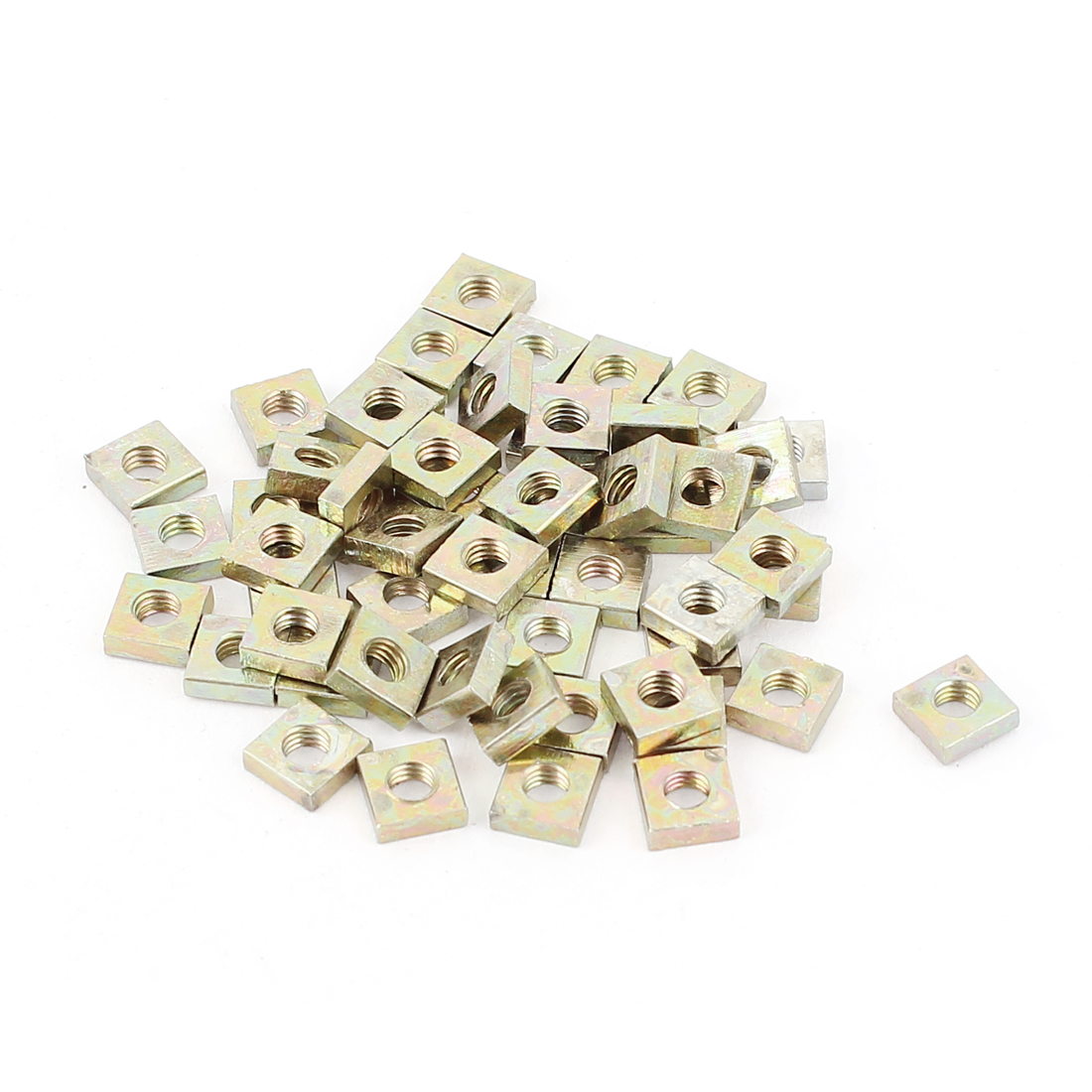 M3x5.5x2mm Zinc Plated Square Machine Screw Nuts Brass Tone 50Pcs