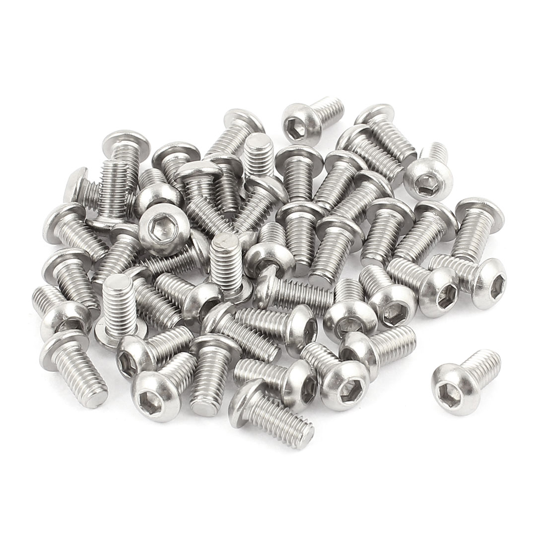 M6x12mm Stainless Steel Button Head Hex Socket Cap Screws Silver Tone 50Pcs