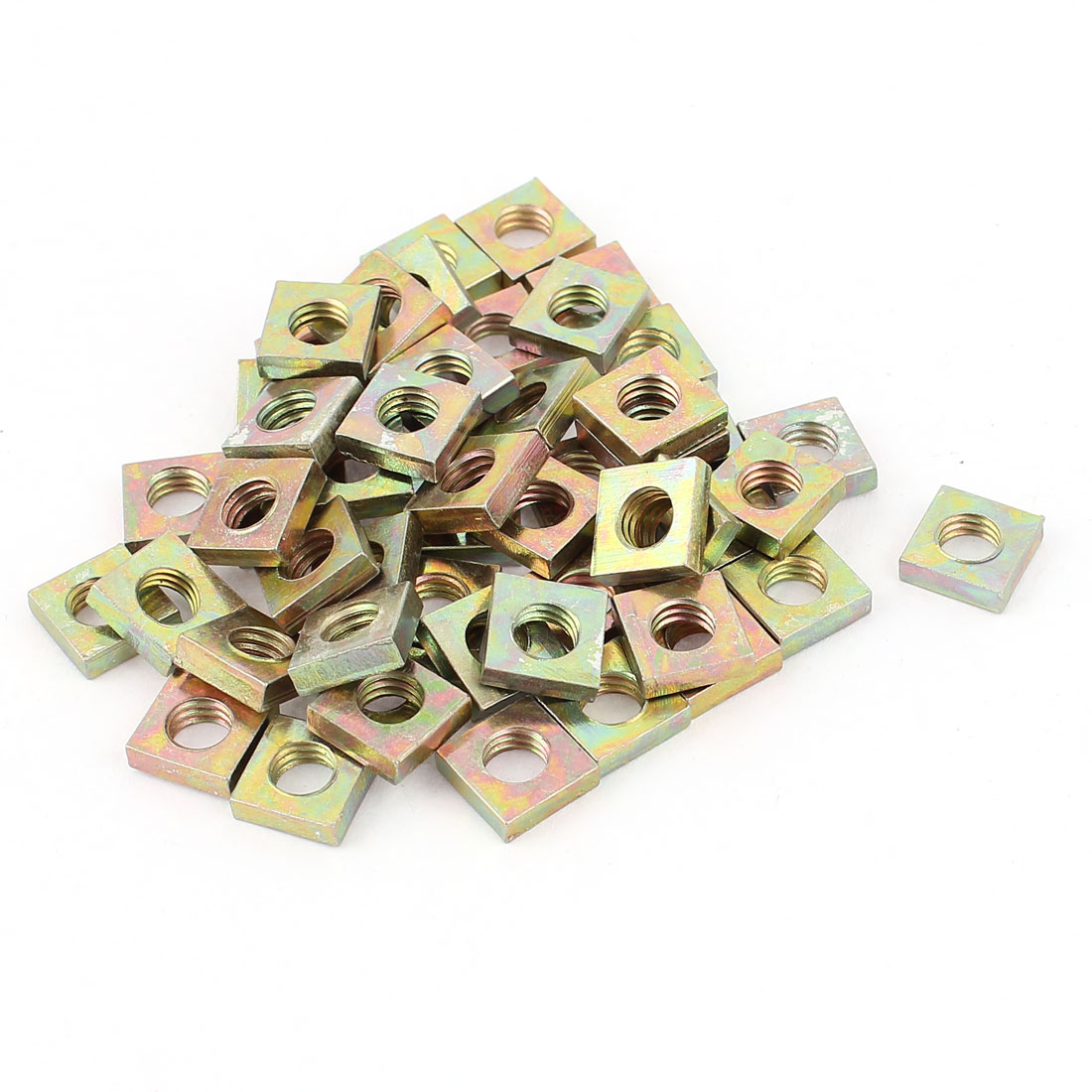 M6x10x3mm Zinc Plated Square Machine Screw Nuts Brass Tone 50Pcs