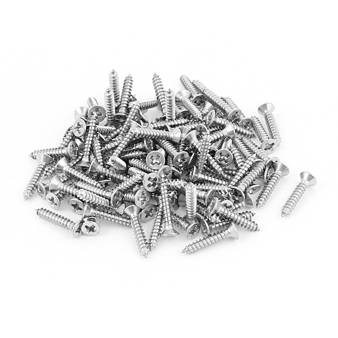 M3x16mm Phillips Flat Head Stainless Steel Self Tapping Screws Fastener 100Pcs
