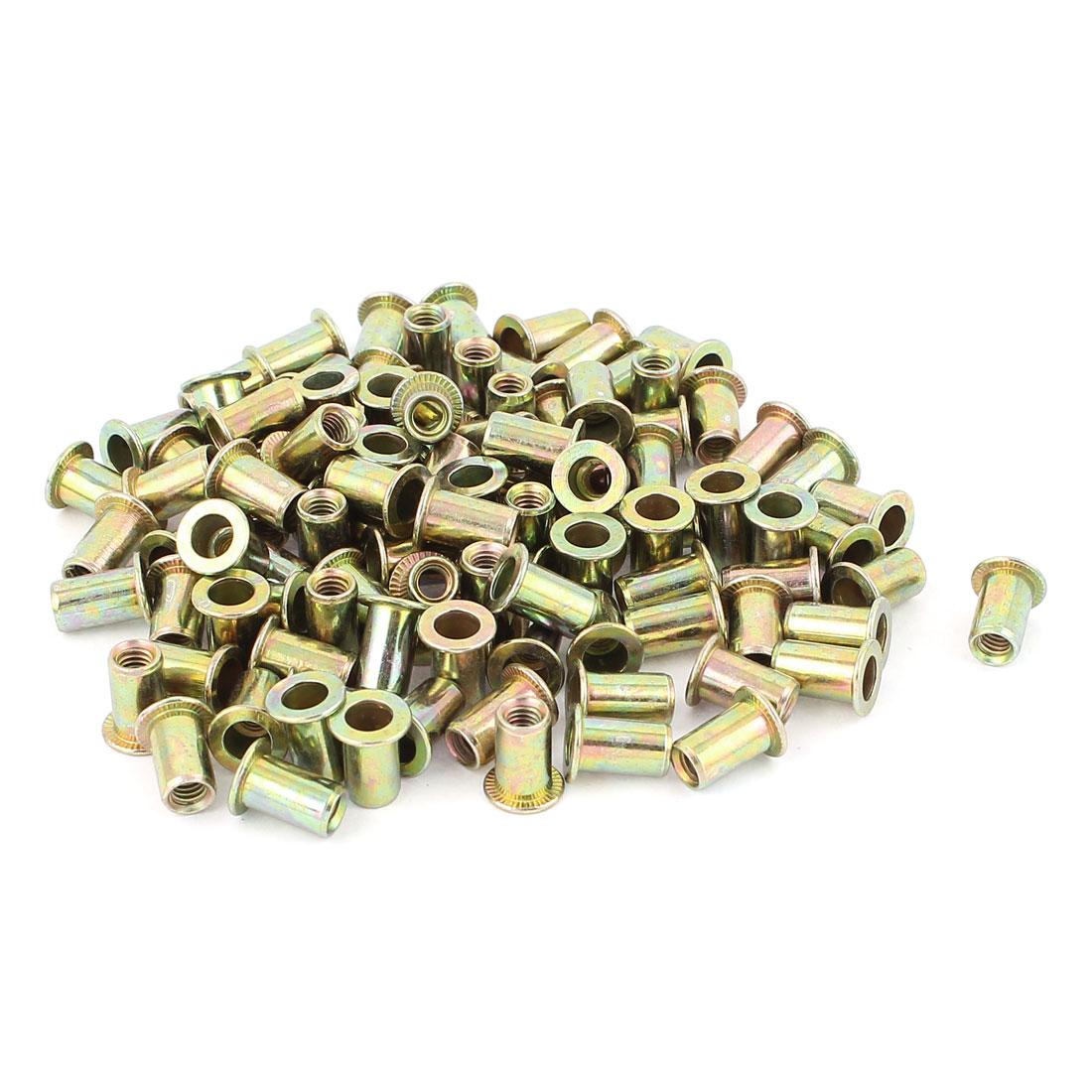 4mm Thread Dia Zinc Plated Rivet Nut Insert Nutsert Brass Tone 100Pcs