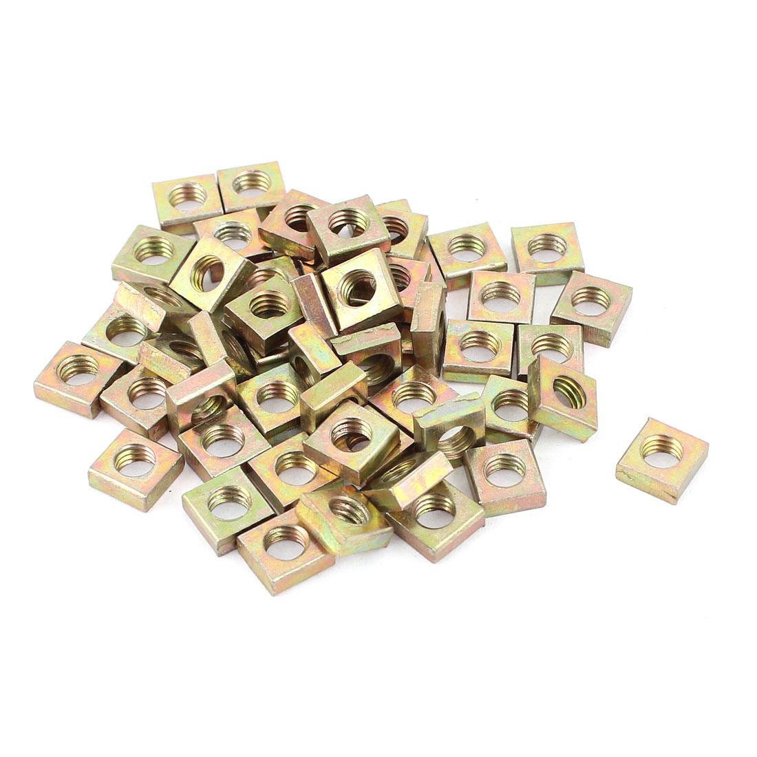 M5x8x3mm Zinc Plated Square Machine Screw Nuts Brass Tone 50Pcs