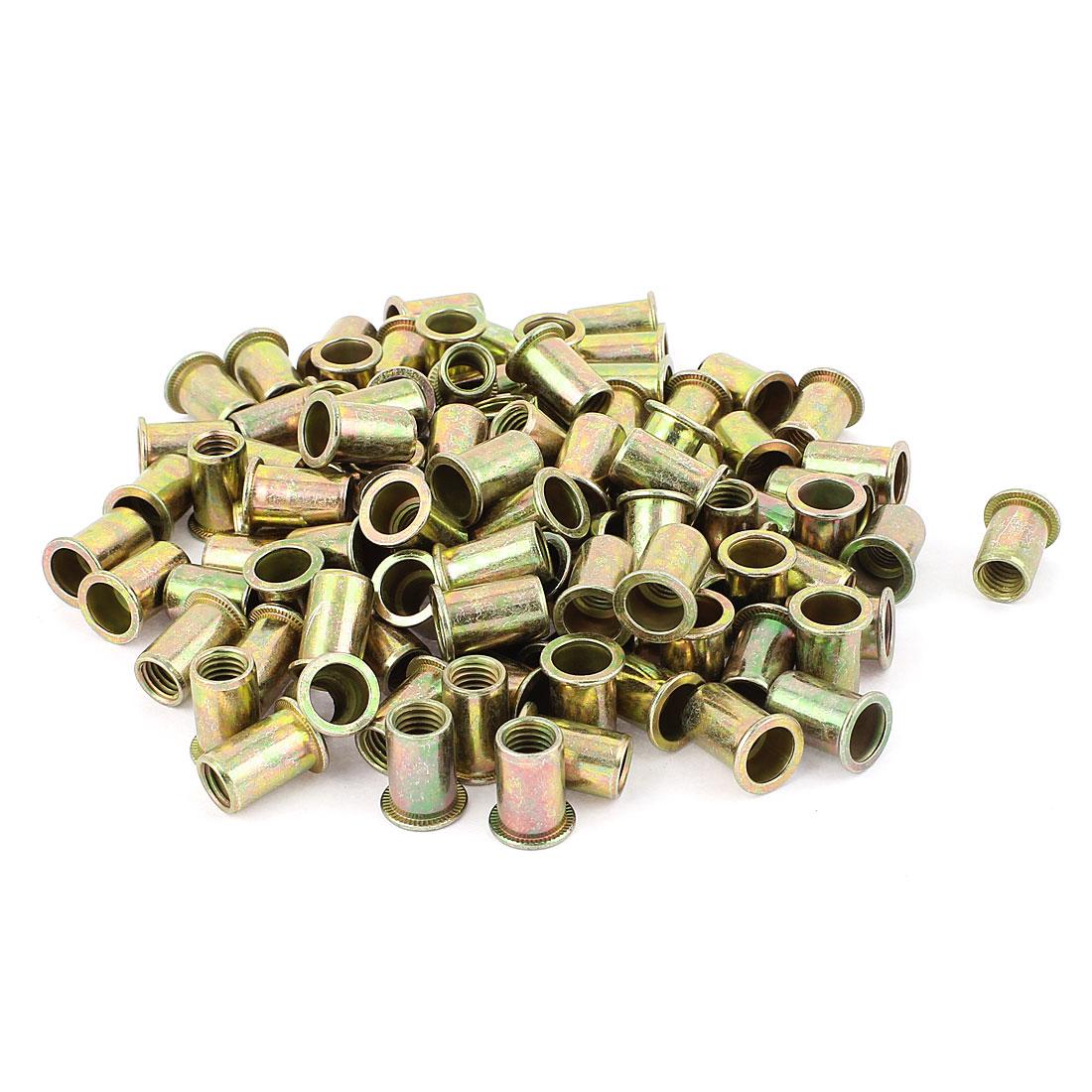 10mm Thread Dia Zinc Plated Rivet Nut Insert Nutsert Brass Tone 100Pcs