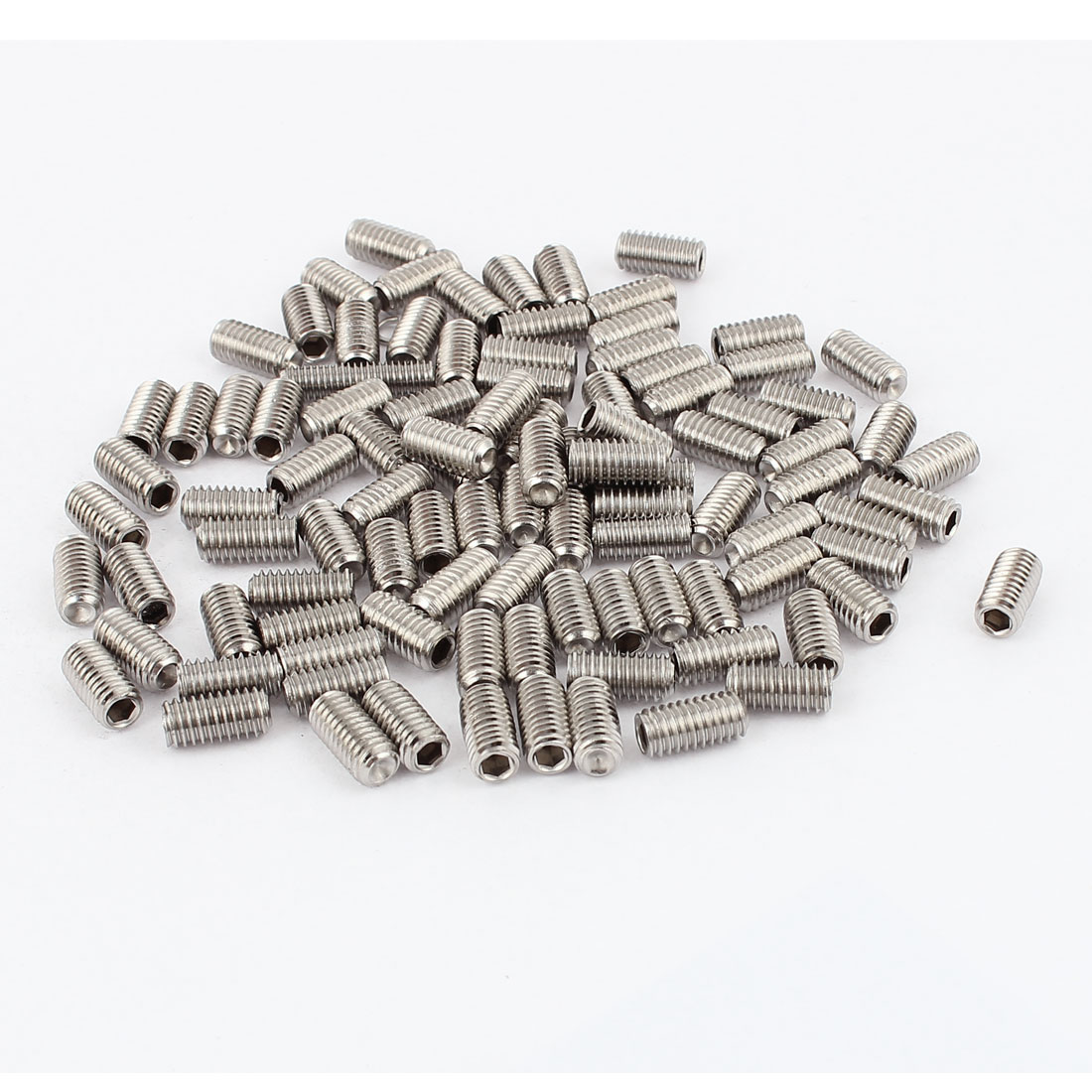 M6x12mm Stainless Steel Hex Socket Set Cap Point Grub Screws Silver Tone 100Pcs