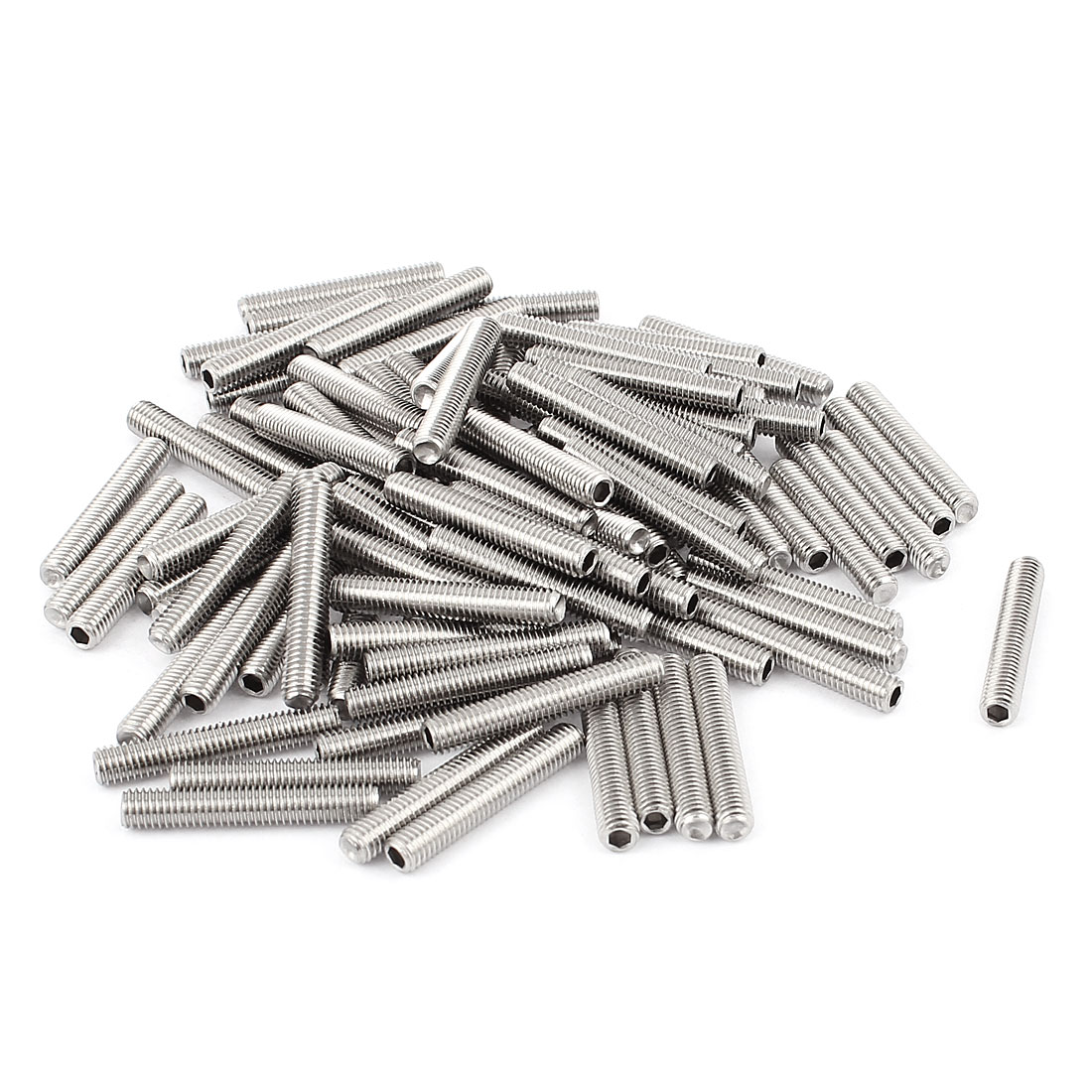 M5x30mm Stainless Steel Hex Socket Set Cap Point Grub Screws Silver Tone 100Pcs