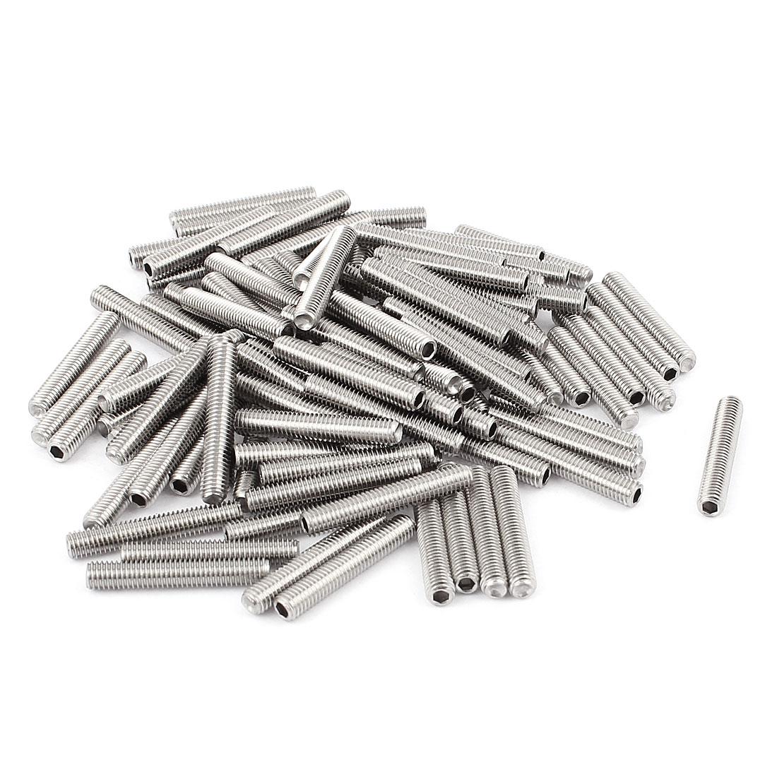 M5x30mm Stainless Steel Hex Socket Set Cap Point Grub Screws Silver Tone 100Pcs