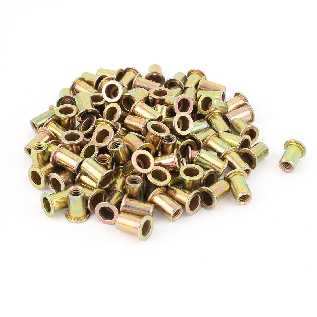 6mm Thread Dia Zinc Plated Rivet Nut Insert Nutsert Brass Tone 100Pcs