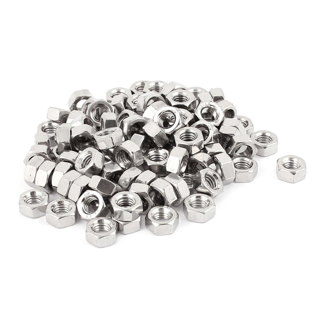 6mm Thread Dia Electric Machine Fastener Screws Hex Nut Silver Tone 100Pcs